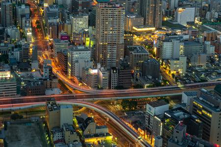 Nagoya, Japan - May 11, 2019 : Night view of cityscape in Nagoya, Japan.