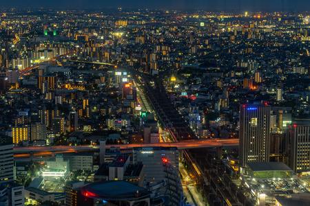 Nagoya, Japan - May 11, 2019 : Nagoya city at night time.