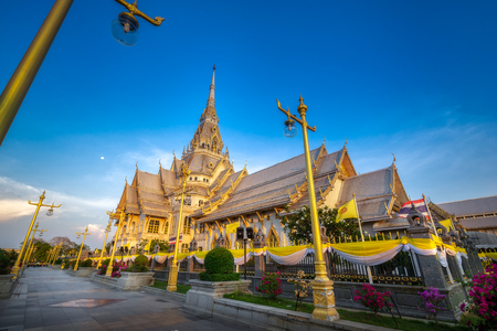 Beautiful scenery of Temples in Thailand: Sothon Wararam Worawihan Temple. It is a temple where many people come to pray for blessings.