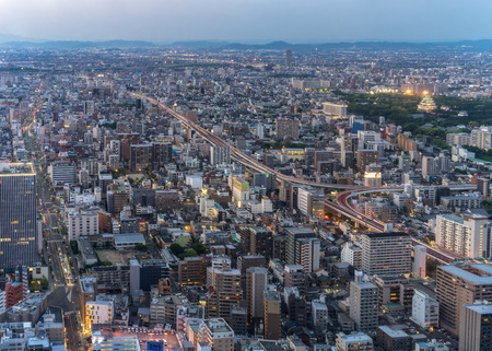 Nagoya, Japan – May 11, 2019 : Nagoya cityscape and skyscraper in twilight time.