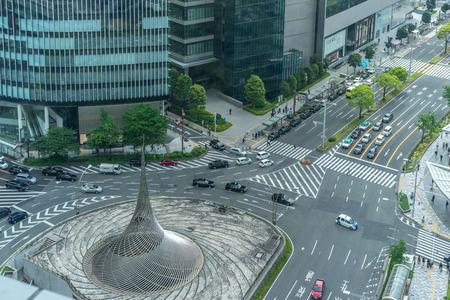 Nagoya, Japan - May 13, 2019 : Nagoya Station traffic circle.