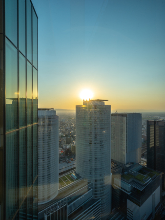 Nagoya, Japan - May 11, 2019 : The scenery outside of the skyscraper in the city. Editorial