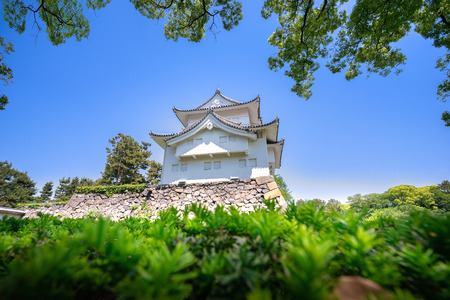East Asian hip-and-gable roof. The traditional architecture of Japanese temple.