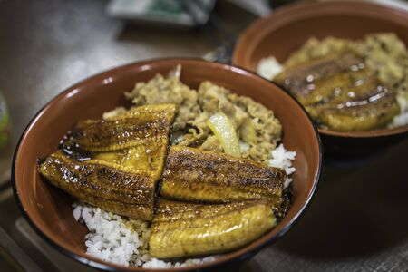 Unadon is a dish originating in Japan. It consists of a donburi type large bowl filled with steamed white rice, and topped with fillets of eel.