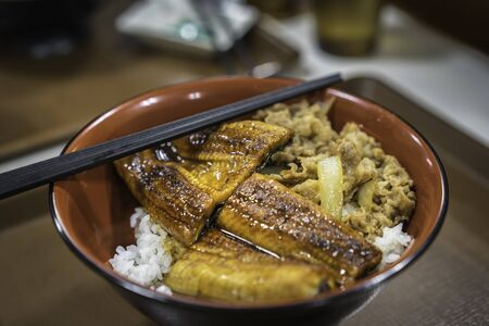 Traditional Japanese food. It consists of a donburi type large bowl filled with steamed white rice, and topped with fillets of eel and pork.
