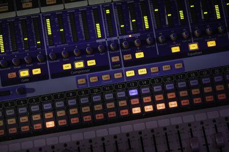 Audio control panel for entertainment. Music equipment.