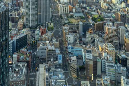 Nagoya, Japan - May 11, 2019: Aerial view of city and buildings in Nagoya City.