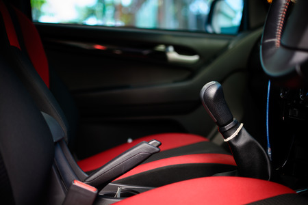 go inside: Car interior with back seats tone red and black Stock Photo