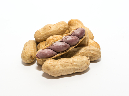peanut sauce: boiled peanuts on white background Stock Photo
