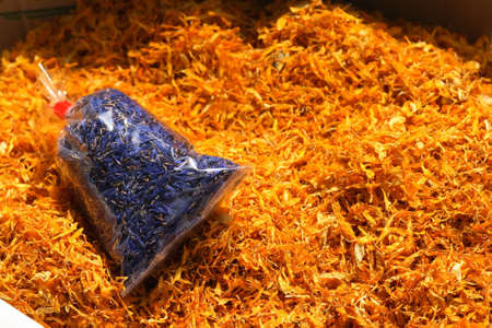 phytotherapy: Dry medicinal plants, ingredients for phytotherapy, calendula, cornflower.