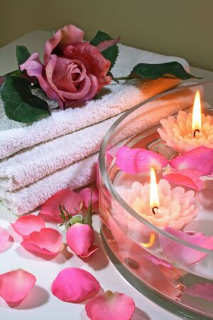 basic care: Some objects of relaxation and body treatment,rose spa Stock Photo