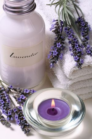 body treatment: Lavender spa, some objects of relaxation and body treatment Stock Photo