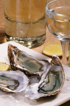 Oysters on ice, white wine and lemon  写真素材