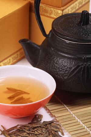 Cast-iron teapot, a fine china bowl of green tea, bamboo mat and a box of loose tea leaves photo
