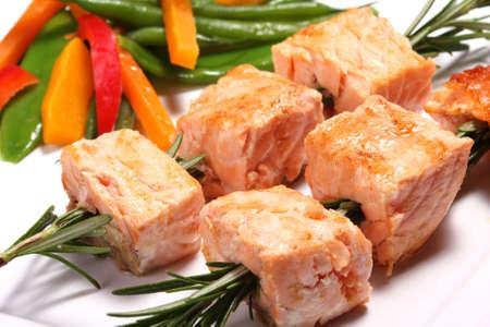 broil: Grilled salmon kebab Stock Photo