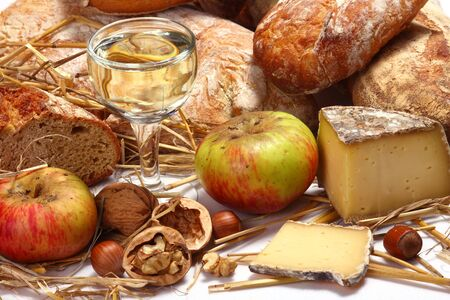 bread, wine and cheese Stock Photo - 2302847