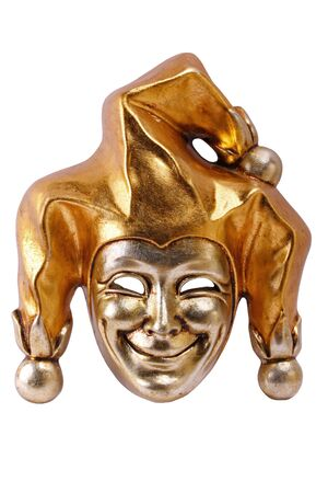 tonto: M�scara veneciana de oro del bromista sonriente aislada en blanco