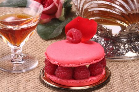 French pastry and wine photo