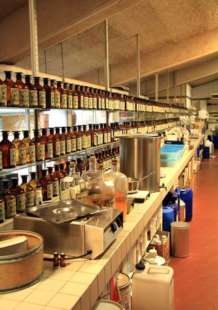 distillery: Laboratory in a French perfumery where they make perfumes
