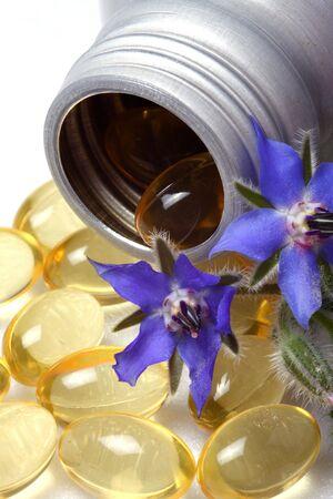 Skincare, borage moisturizing oil. Stock Photo