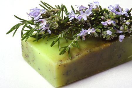 Skincare, natural rosemary soap.