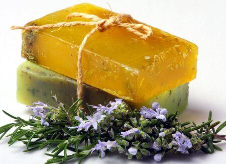 Skincare, natural rosemary soaps. photo