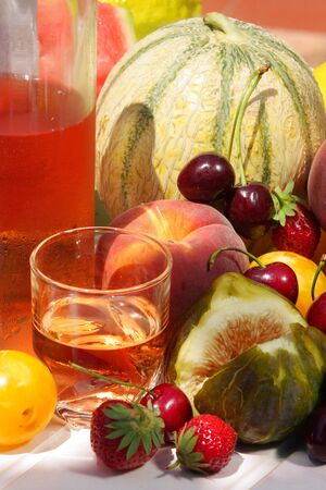 wine and fruits  photo