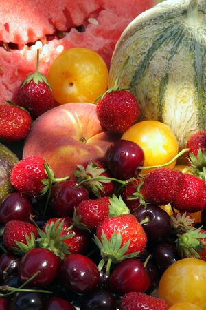 fresh juicy summer fruits lighted by the sun  Stock Photo - 3563301