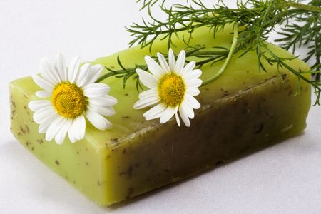 Skin care, natural handmade soap with chamomile