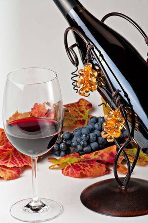 wine testing:  red wine,  bottle, grapes and red leaves Stock Photo