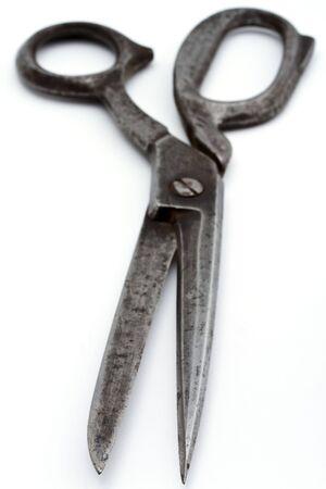 antique scissors:  scissors on white background.