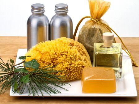 eau de toilette: Spa products on a tray Stock Photo