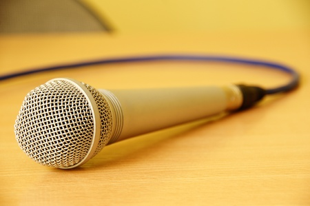 Microphone on my yellow desk photo