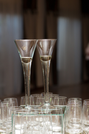 spouses: Glasses with champagne for spouses