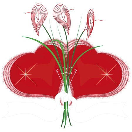 st valentine  s day: red hearts with a flower Illustration