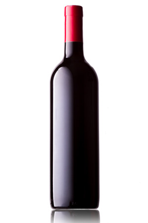 red and white: Wine bottle on white background with reflection