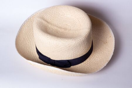 man made object: A traditional Panama Hat on a white background Stock Photo