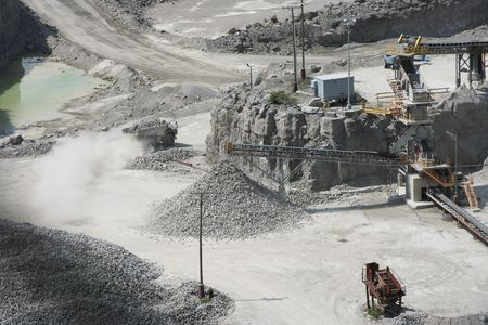 view of a gravel pit during operations