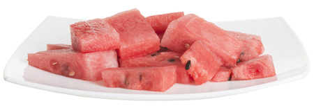grocer: watermelon slices in white dish Stock Photo