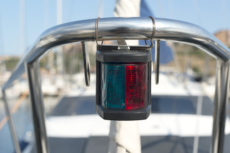 starboard: boat starboard green and port red sides lights Stock Photo