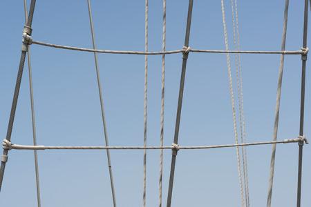cordage: sailing vessel cordage against blue sky