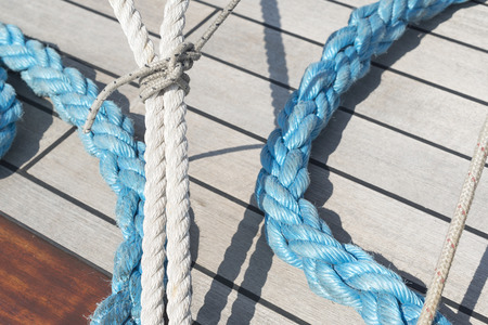 ship deck: ropes on ship deck Stock Photo