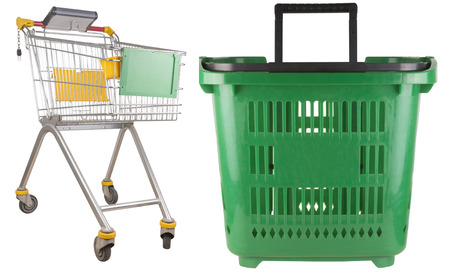 hand basket: shopping trolley and green hand basket. isolated on white background.