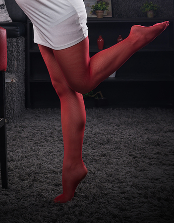 panti: woman leg pose in red tights