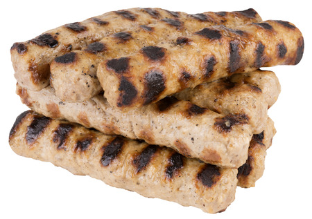 carne picada: pica la carne de barbacoa. aislado sobre fondo blanco.