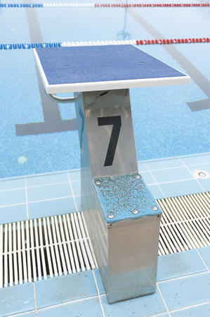 plunge: water pool plunge with number 7 Stock Photo