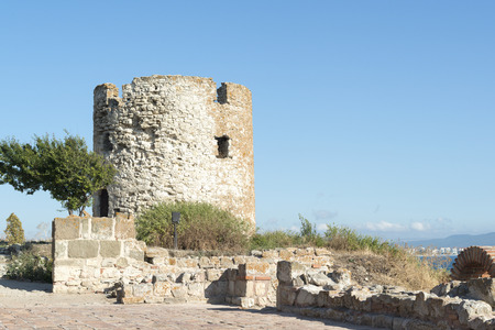 watch city: Ancient watch tower in old city of Nessebar, Bulgaria Stock Photo