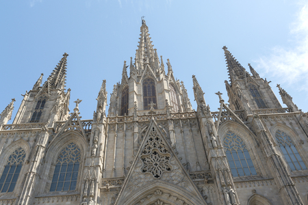 barcelona cathedral: detail of Barcelona Cathedral in the Gothic Quarter. Stock Photo