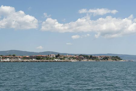 polis: view to the ancient Nessebar town, Bulgaria from Black Sea