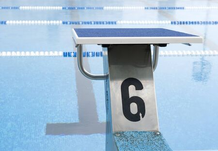 plunge: water pool plunge with number 6 Stock Photo